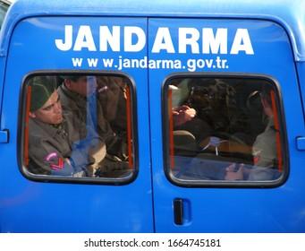 Çanakkale/Turkey - 04/24/2008: Turkish gendarmes in official Jandarma car