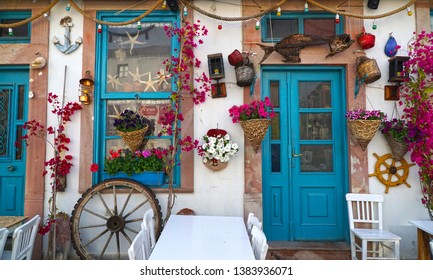 04/24/2019- Ayvalik, Balikesir, Turkey. View of the  beautifully decorated wall of Cunda island.