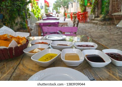 04/24/2019- Ayvalik, Balikesir, Turkey. View of the Turkish breakfast table   on Cunda island.