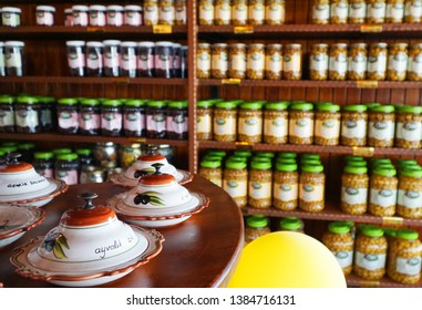 04/24/2019- Balikesir-Turkey.    Olive is very famous in the Ayvalik region of Turkey.  View of an olive and olive oil store inside.