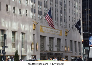 04.29.2019 The entrance view of the Waldorf Astoria Hotel in Manhattan, facade of the building.