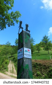 Baden-Württemberg/Germany - 05 24 2020: Hiking sign Westweg in Black Forest south Germany