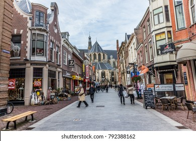 05.01.2018 - Alkmaar, North Holland Bars and shopping streets in Alkmaar, Netherlands. Alkmaar is one of the first big cities in North Holland it is  old and  new, vintage and modern.