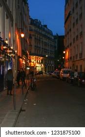 05.02.2008, Paris, France. Narrow street of Paris tonight. Travel around France.