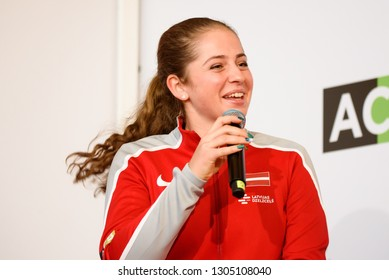 05.02.2019. RIGA, LATVIA.  Jelena Ostapenko, team Latvia. Members of Team Latvia for FedCup , during meeting with fans before World Group II First Round games at Central Railway Station of Riga.
