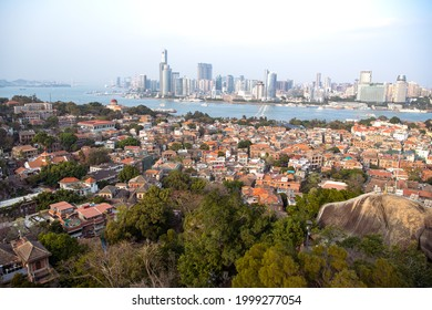 05.05.2021 Sunset panoramic view on Gulangyu Island, Xiamen, Fujian, China. UNESCO World Heritage site. Copy space for text, wallpaper, aerial