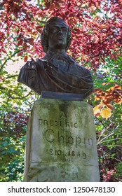 05.07.2008, Paris, France. Bust of the polish composer Chopin in spring park.