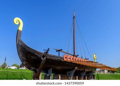 05.08.2018. Kent, UK. The Hugin, a replica viking ship at Cliffsend near Ramsgate UK