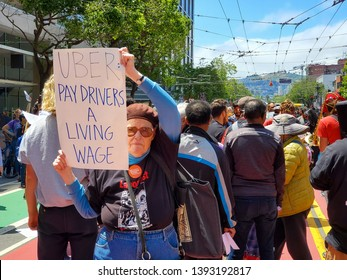 05/08/2019 San Francisco, California/ USA:  Uber Protestant in front of Uber Headquarters on Market Street in San Francisco, CA