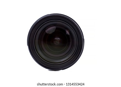 05.10.2017 - Kyiv, Ukraine. Front view of photo lens. Digital camer lens isolated on white background. Professional photography equipment.