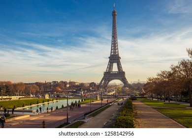 05.10.2017 Paris Eiffel Tower and river Seine at sunset in Paris, France. Eiffel Tower is one of the most iconic landmarks of Paris. Top view