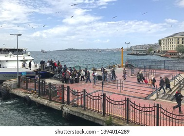 05/10/2019- Besiktas, Istanbul, Turkey- View of Besiktas pier with passengers waiting for the boat.