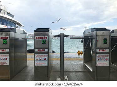 05/10/2019- Besiktas, Istanbul, Turkey. View of the ticket barrier in Besiktas pier.