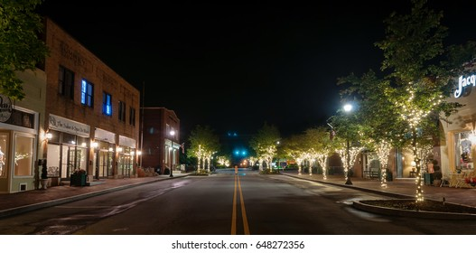 05-18-2017 Mount Holly, North Carolina, United States - Historic downtown of Mount Holly city at night