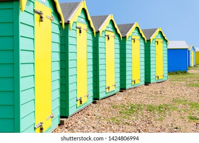 05.21.2018, Littlehampton, Sussex, UK. Brightly painted beach huts< Littlehampton West Sussex
