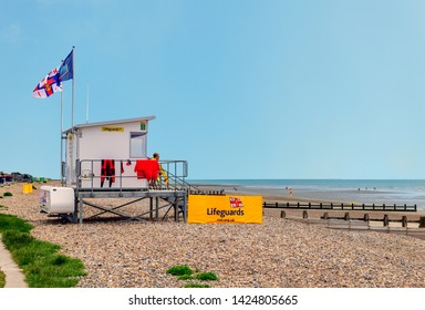 05.21.2018, Littlehampton, Sussex, UK. The lifeguard station at littlehampton west sussex