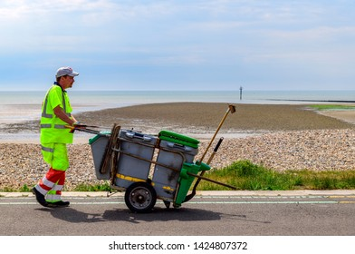 05.21.2018, Littlehampton, Sussex, UK. road sweeper Littlehampton esplanade
