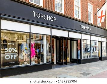 05.21.2018, Sussex, UK. Topman / topshop shopfront< Chichester UK