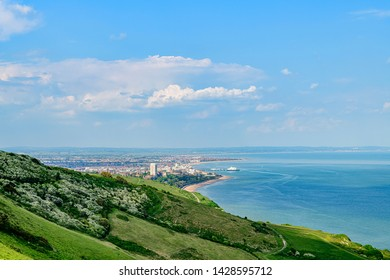 05.22.2018 Eastbourne, Sussex, UK. View of Eastbourne town from Beachy head
