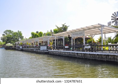05/28/2014- Agva, Sile, Istanbul, Turkey.  Restaurants and cafes on the banks of Goksu river.