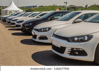 05.28.2016 Moscow region , Yakhroma. VAG festival automotive, many VW sirocco in a row