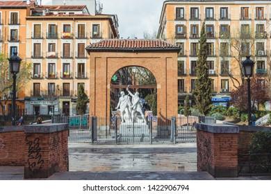 06 03 2019 Madrid Spain Dos de Mayo Square in Malasaña Neighbourhood