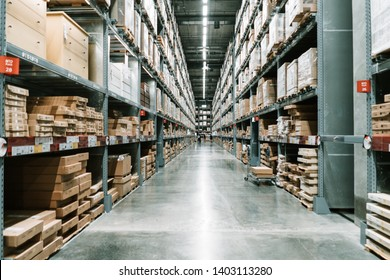 06 May 2019; Nonthaburi Thailand: Background or IKEA warehouse interior at IKEA Store Bangyai in Thailand. IKEA is a retail furniture and home accessories store.