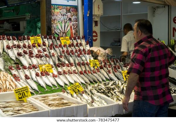 06 Oct 2017 Uskudar Fish Bazaar, Istanbul, Turkey
