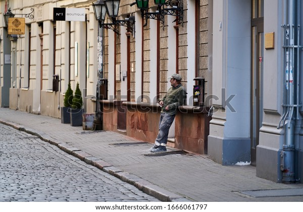 06-03-2020 Riga, Latvia.  construction worker takes a break in the midday sun.
