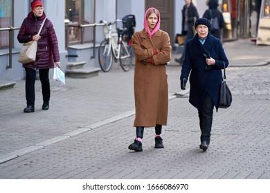 06-03-2020 Riga, Latvia People walking in city park.