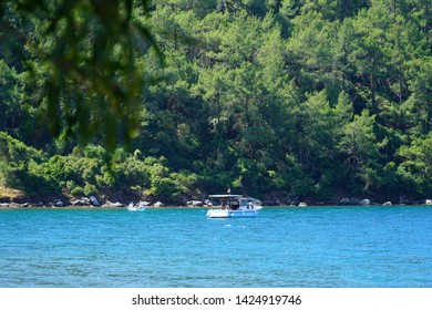 06/05/2019- Marmaris, Turkey. Boat on the water in Hisaronu bay in Marmaris province.