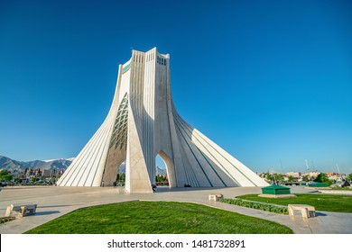 06/05/2019 Tehran, Iran, View of the Azad Tower formerly known as the Shahyad Tower is one of the symbols of the city and Iran at all