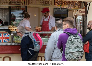 06/06/19 Portsmouth, Hampshire, UK people queuing at a food stall
