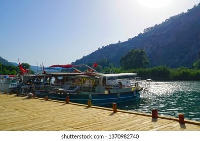 06/07/2018- Dalyan, Mugla, Turkey- Dalyan is in Mugla district of Turkey.   Boats in the harbor.