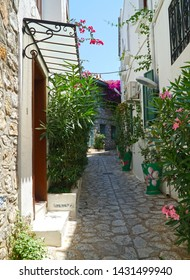 06/07/2019- Marmaris, Turkey.     Narrow streets with flowers of the downtown district of Marmaris.