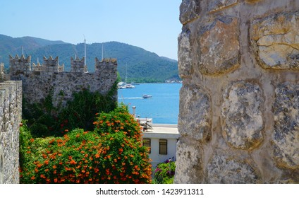 06/07/2019- Marmaris, Turkey. View of the marina through the walls of historical Marmaris Castle.