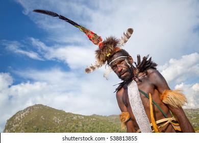 06.08.2015 , Indonesia, Papua,valley Baliem, Papuan in Baliem Valley