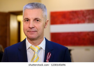 06.11.2018. RIGA, LATVIA. Artis Pabriks, member of Parliament of Latvia and candidate for Prime Minister of Latvia. First parliamentary session of new members of Parliament of Latvia (Saeima).