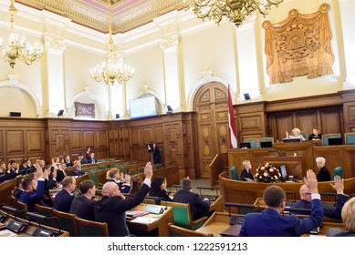 06.11.2018. RIGA, LATVIA. First parliamentary session of new members of Parliament of Latvia (Saeima).