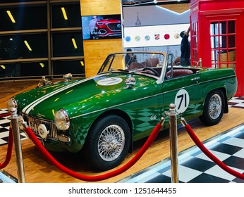 06-12-2018, INDRA GANDHI INTERNATIONAL AIRPORT, NEW DELHI,INDIA-Displayed Green colour '1965 MG MIDGET',The MG Midget is a small two-seater sports car produced by MG from 1961 to 1979.