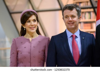 06.12.2018. RIGA, LATVIA.Crown Prince of Denmark Frederik and Crown Princess Mary Elizabeth of Denmark, during the book donation ceremony by Their Royal Highnesses Crown Prince and