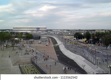 06.17.2018, Rostov-on-Don, Russia: Football supporters moving to Rostov Arena stadium at World Cup 2018