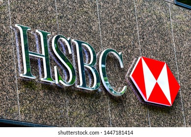 Düsseldorf,Germany-July 06,2018:exterior of HSBC  bank in Düsseldorf.HSBC Holdings plc is a British multinational banking and financial services holding company.