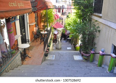 06/22/2013- Beyoglu, Istanbul, Turkey. French Street is  located in Galatsaray, behind the Galatsaray School, Istiklal Avenue. The street is also known as Algeria Street.