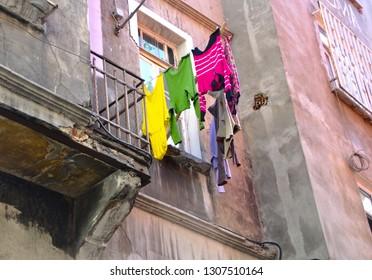 06/22/2013, Cihangir, Istanbul, Turkey. Hanging laundry of Cukurcuma houses in the Beyoglu district of Istanbul.
