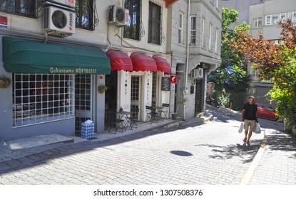 06/22/2013, Cihangir, Istanbul, Turkey. Street view of Cukurcuma in the Beyoglu district of Istanbul.