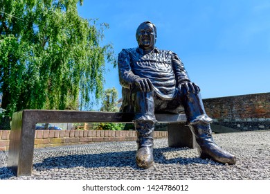 06.25.2018, Canterbury, Kent, UK. Bronze statue of Dave Lee the famous pantomime dame outside the Marlowe theatre Canterbury