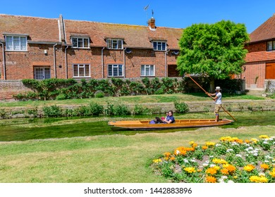 06.25.2018. Kent; UK. punting on the great stour in front of westgate cottages Canterbury