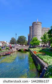 06.25.2018. Kent; UK. Punting on the great stour with westgate towers in the background, Canterbury
