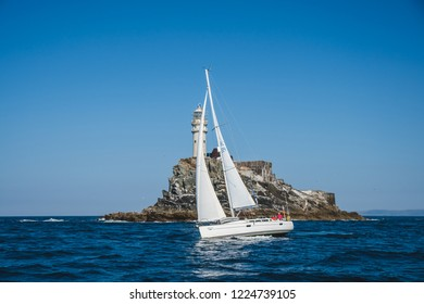 07, 2018 Ireland: Fastnet lighthouse. A view from the boat